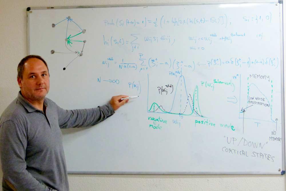 Joaquín Torres junto a su modelo matemático que demuestra la relación entre sistemas magnéticos y estado cerebral.