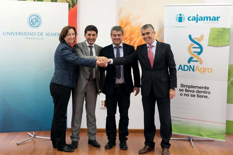 El rector de la Universidad de Almería, Carmelo Rodríguez, junto a representantes de Cajamar y de Rijk Zwaan.
