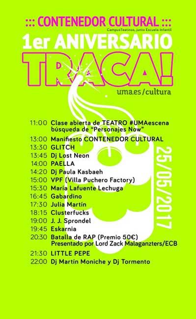 Cartel de La Traca!, actividad cultural que se desarrolla este jueves en la UMA.