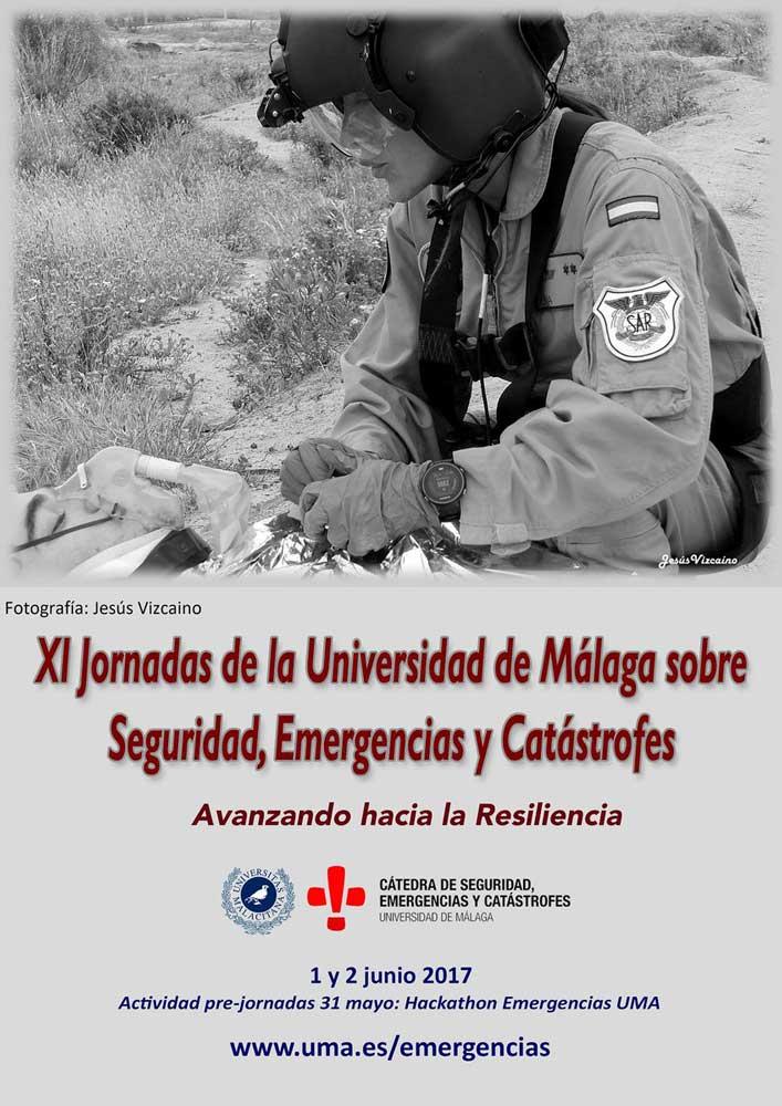Cartel de las XI Jornadas sobre seguridad, emergencia y catástrofes de la UMA.