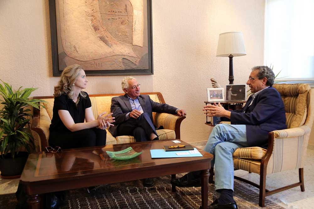 Anthony Cascardi, José Ángel Narváez y Nuria Rodríguez, en su encuentro de hoy.