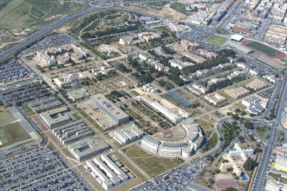 Vista aérea del campus de la Universidad de Alicante.