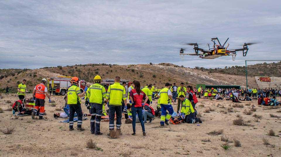 Simulacro de catástrofe, organizado por Enfermería de la UCAM, con uso de drones.