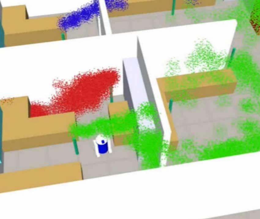 El dispositivo fusiona los simuladores robóticos con los de fluidos, permitiendo en un mismo entorno disponer de dispersión de gases y sensores montados en una plataforma robótica.