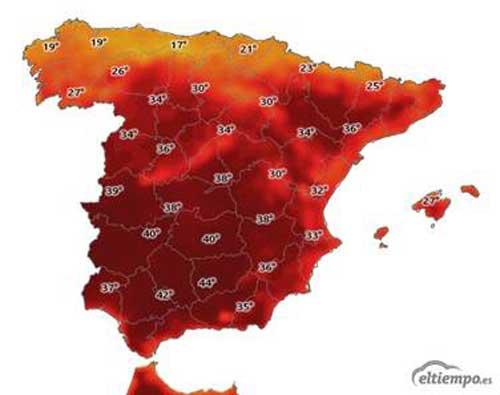Mapa de temperaturas en esta ola de calor.