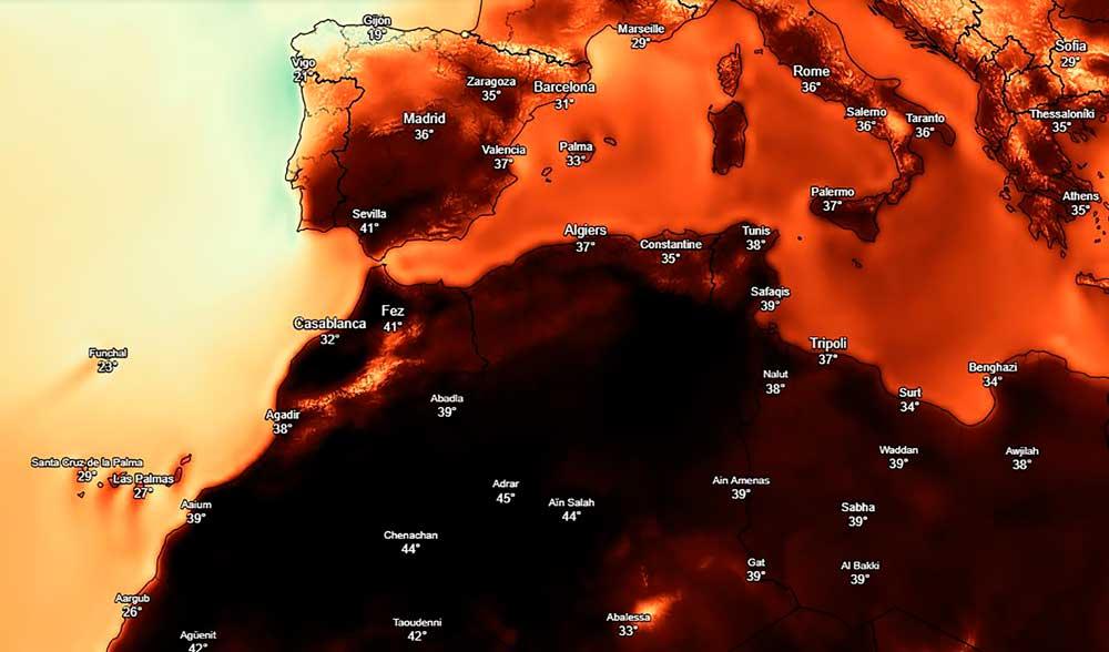 La ola de calor y la subida de temperaturas equiparan a España y África.
