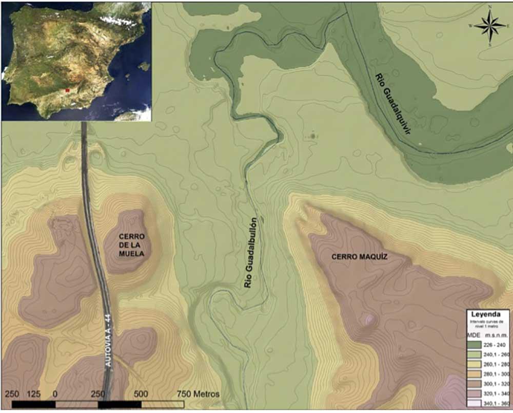 Mapa de situación de la Iliturgi ibera y la romana.