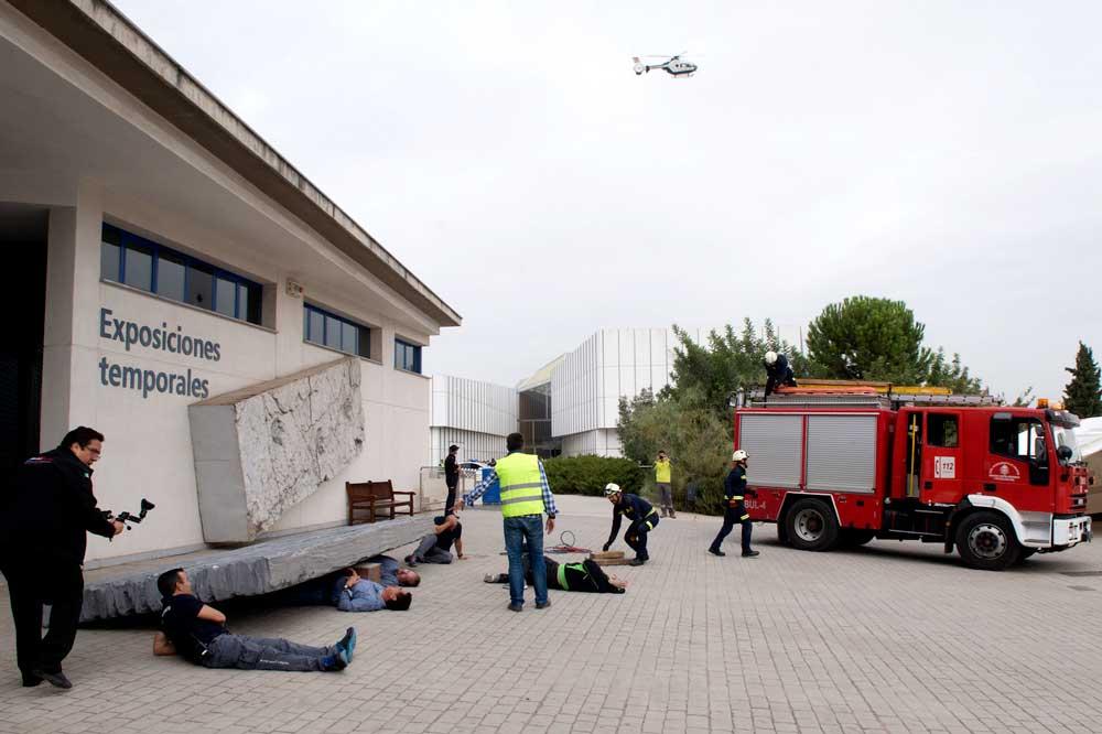 Simulacro de terremoto en el Parque de las Ciencias de Granada.