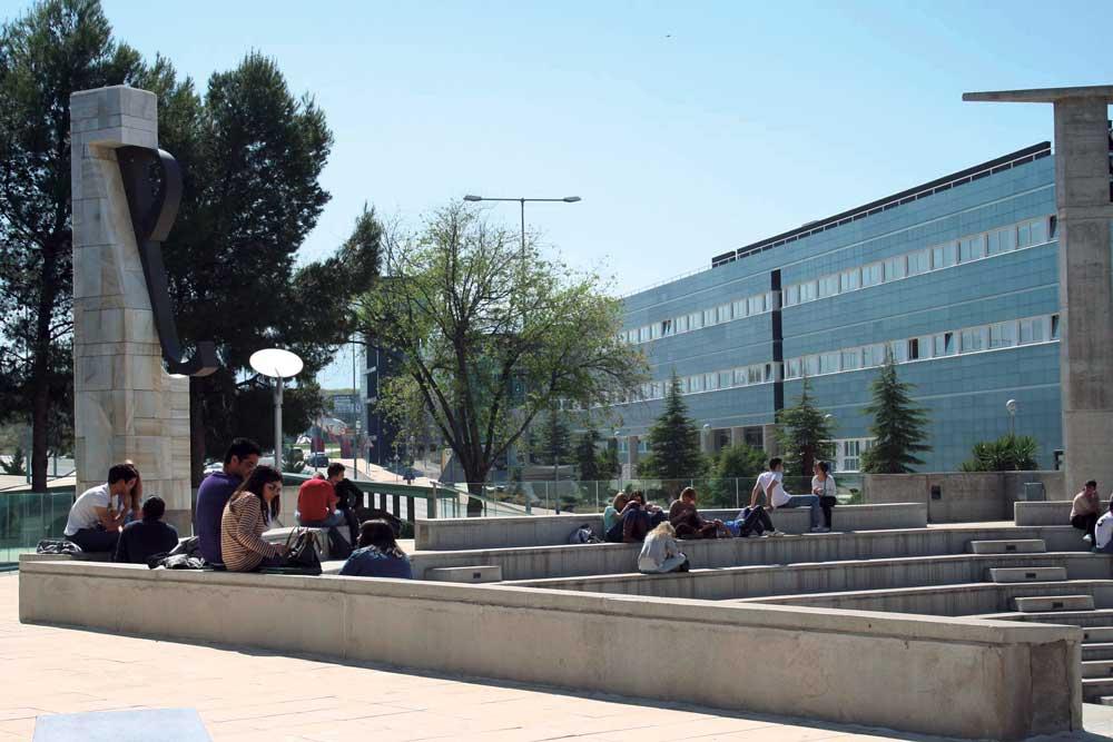 Alumnos en el Campus de la Universidad de Jaén.