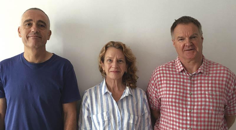 Miguel Giménez, Gynthia Giagnocavo y Rodney Thompson, investigadores del proyecto Nefertiti de agricultura intensiva.