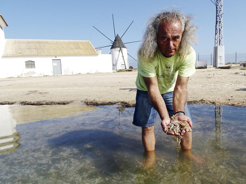Pedro García de ANSE muestra peces muertos en el Mar Menor