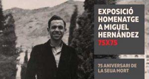 Cartel de la exposición en el Museo de la Universidad de Alicante sobre el 75 aniversario de la muerte del poeta Miguel Hernández.