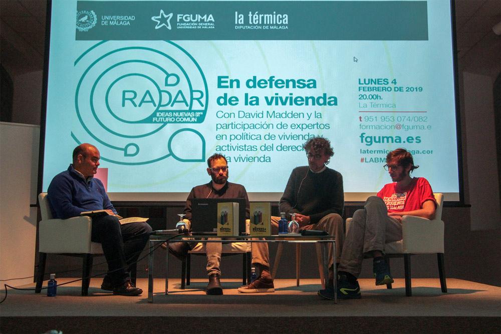 Debate sobre vivienda en el ciclo Radar, de la Universidad de Málaga.