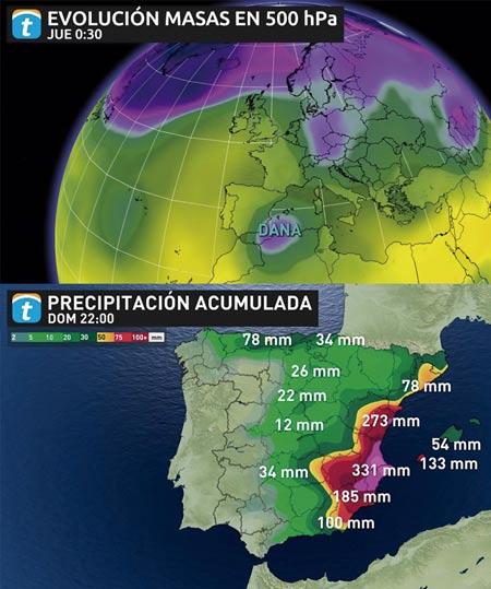 Información meteorológica de los días de la gota fría.