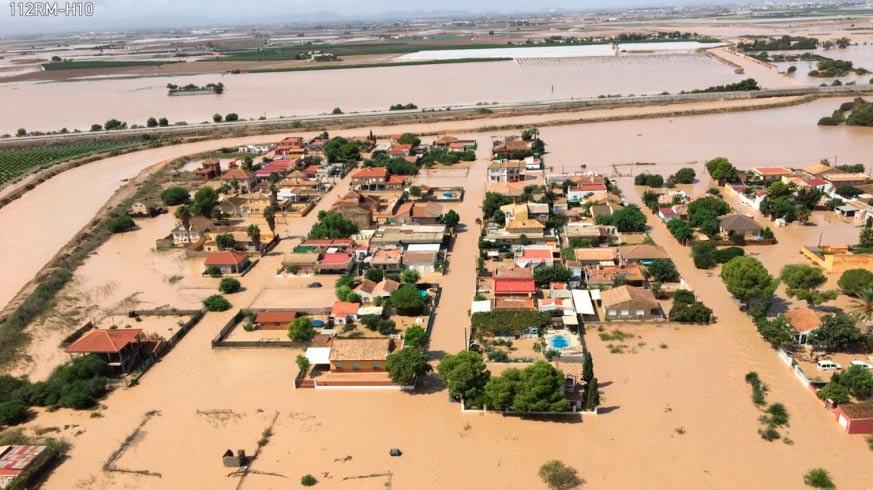Vista aérea del municipio de Los Alcázares, en Murcia, inundado por la gota fría.