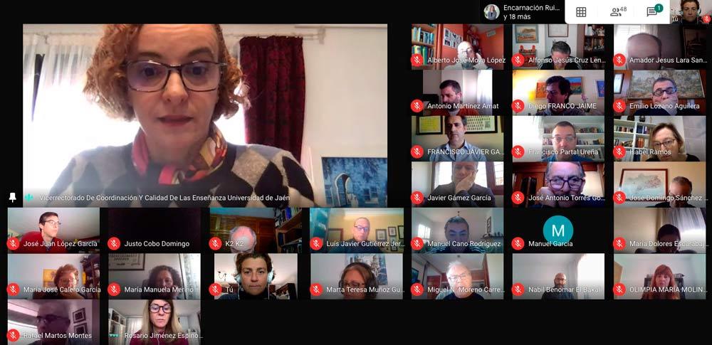 Reunión de la comisión de la UJA para adaptar la docencia al formato on line.