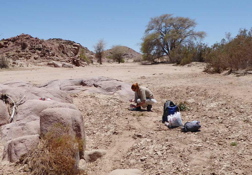 Toma de muestras en un río seco de la Región de Murcia.