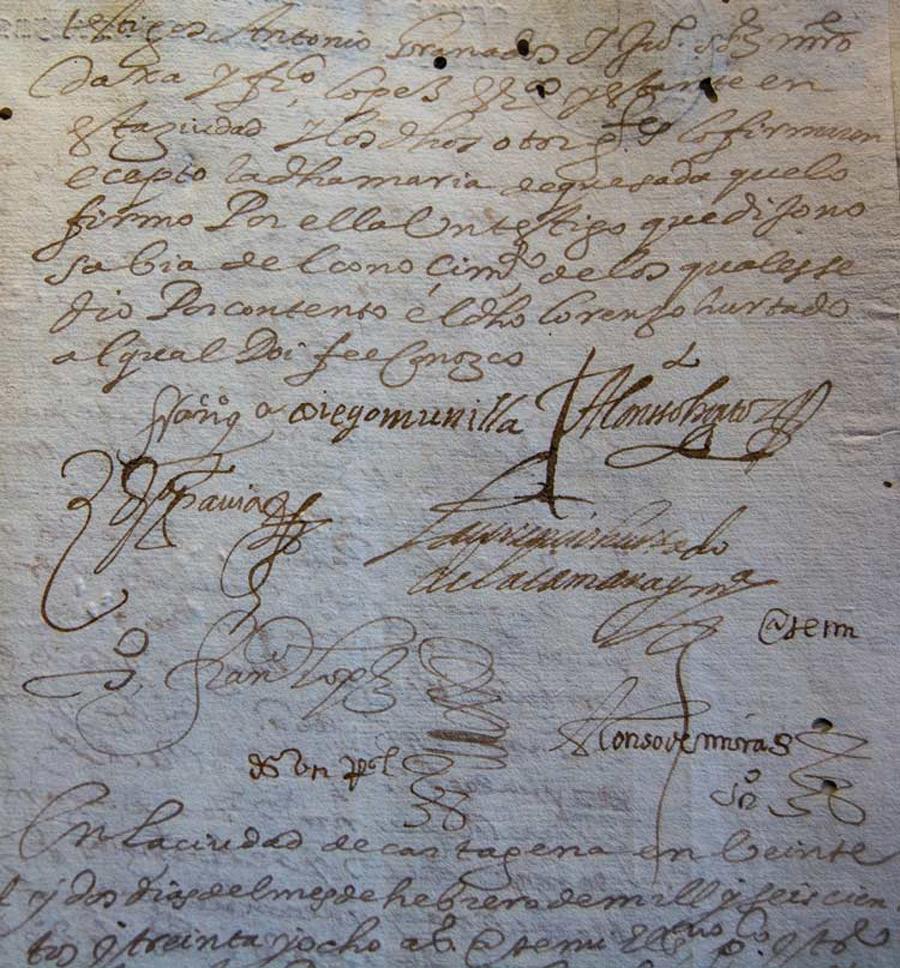 Contrato de actores que trabajaron en el corral de comedias de Cartagena.